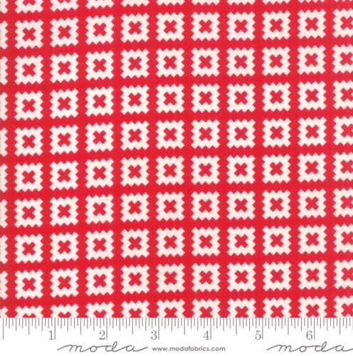 MODA FABRICS - Little Snippets - Pinked Squares Red/White - #2562-