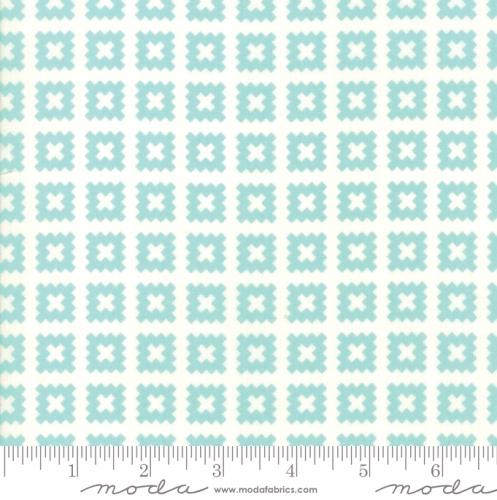 MODA FABRICS - Little Snippets - Pinked Squares - #2547- Aqua/White