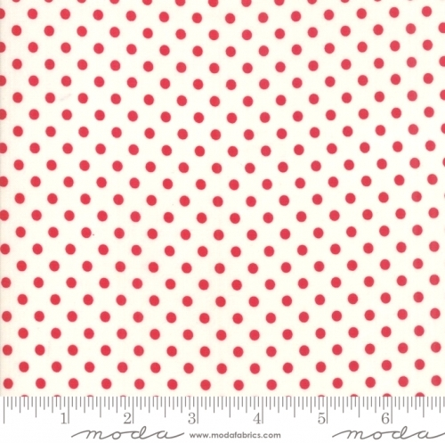 MODA FABRICS - Little Snippets - Polka Dots Red