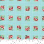 MODA FABRICS - Little Snippets - Floral Lattice Aqua