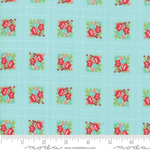 MODA FABRICS - Little Snippets - Floral Lattice Aqua - #2550-