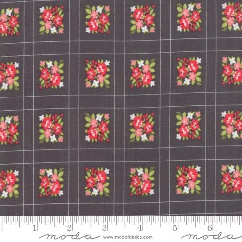 MODA FABRICS - Little Snippets - Floral Lattice Graphite - #2563-