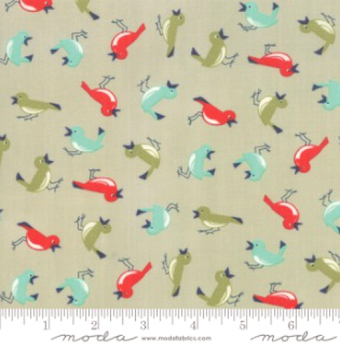 MODA FABRICS - Early Bird Vintage Birds - Gray
