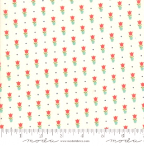 MODA FABRICS - Early Bird Tulips - Cream