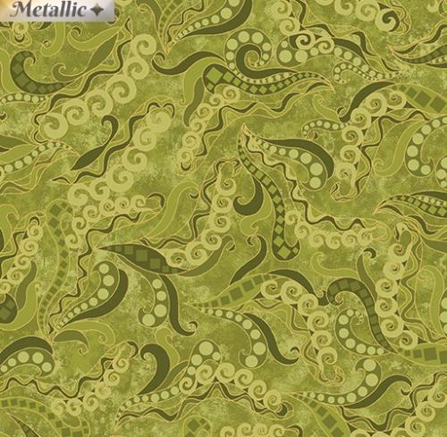 BENARTEX - Dog On It - Holey Scrolls - Green - Metallic