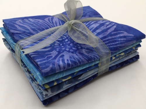 Six Batik Fat Quarter Bundle - Blue