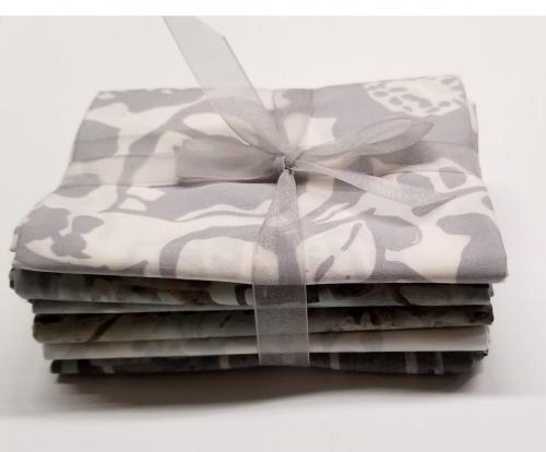 Six Batik Fat Quarter Bundle - Grey