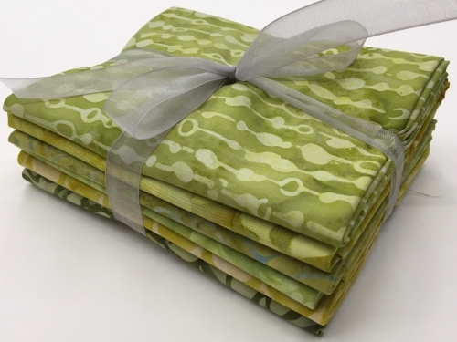 Six Batik Fat Quarter Bundle - Green