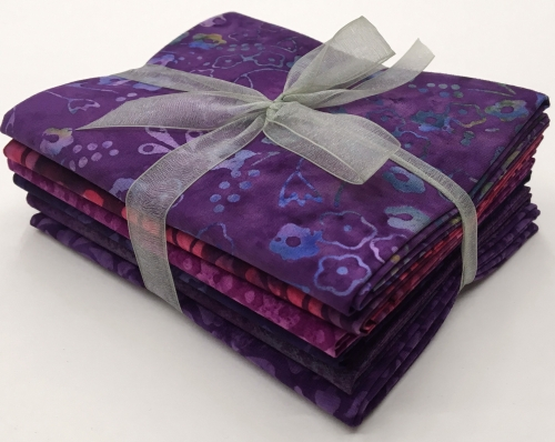 Six Batik Fat Quarter Bundle - Purple