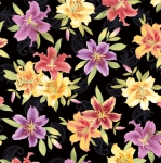 BENARTEX - Lilyanne - Big Lily Allover Black/Multi - Pearlized