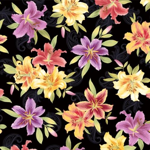 BENARTEX - Lilyanne - Big Lily Allover Black/Multi - Pearlized