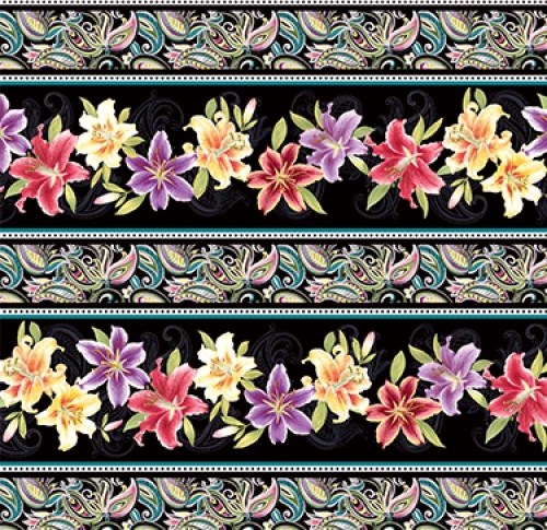 BENARTEX - Lilyanne - Lily Stripe Black/Multi - Pearlized