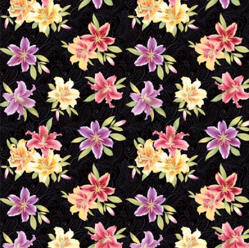 BENARTEX - Lilyanne - Small Lily Allover Black/Multi - Pearlized