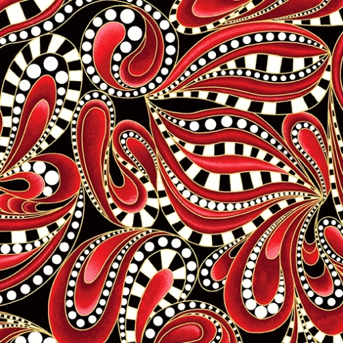 BENARTEX - Cat-i-tude Christmas - Paisley Tonal Swirl Red