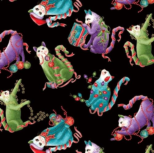 Skinny - SK2380- 3/4 yds - BENARTEX - Cat-i-tude Christmas - Mini Cats Black/Multi