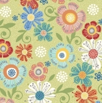 SK477- BENARTEX - Home Grown - Green Floral - Skinny - 1 1/8 yards