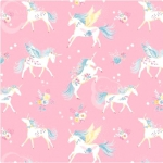 CAMELOT FABRICS - The Girls Collection - Floral Unicorns Pink