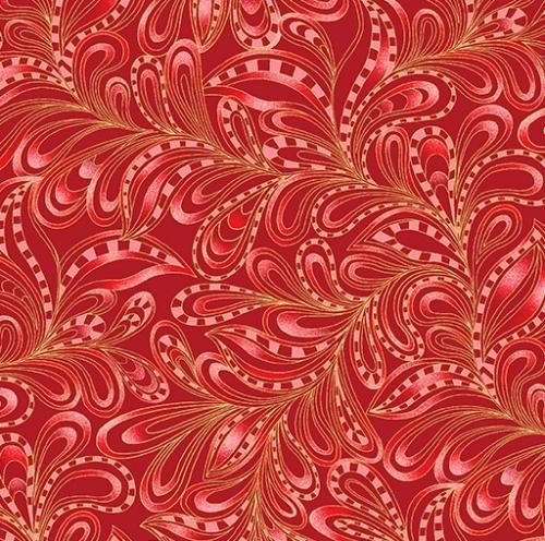 BENARTEX - Cat-i-tude Christmas - Featherly Paisley Rouge