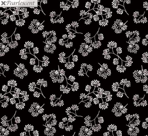 KANVAS STUDIO - Midnight Pearl - Midnight Flower Sprigs - Black - Pearlized - #3332-
