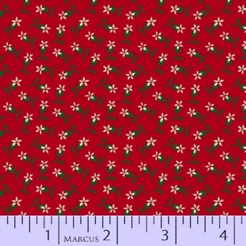MARCUS BROTHERS - R33 Heritage Red & Green - Judie Rothermel - Tiny Floral - Red