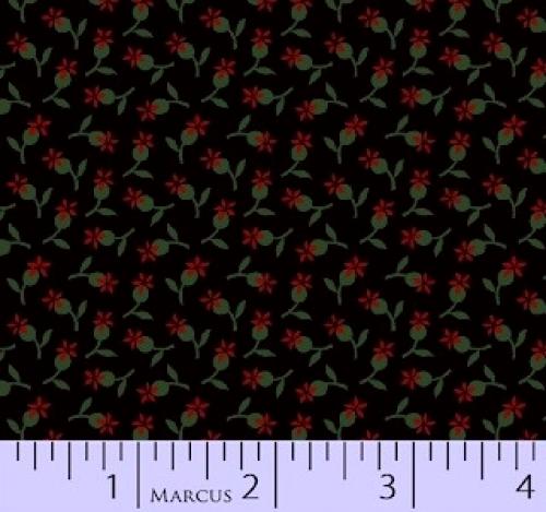 MARCUS BROTHERS - R33 Heritage Red & Green - Judie Rothermel - Floral - Black