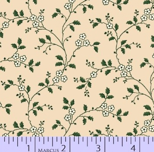 MARCUS BROTHERS - R33 Heritage Red & Green - Judie Rothermel - Floral Vines - Cream - Green