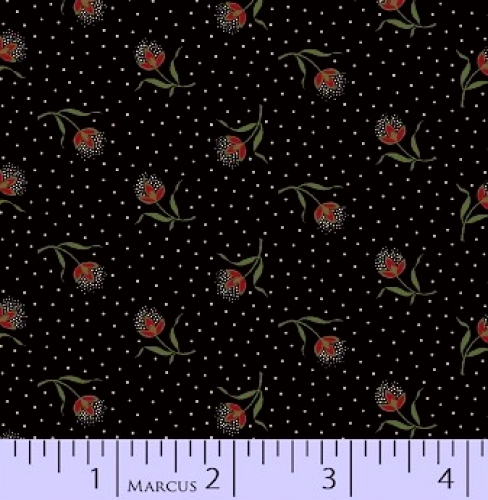 MARCUS BROTHERS - R33 Heritage Red & Green - Judie Rothermel - Floral - Dots - Black