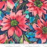 MODA FABRICS - Starflower Christmas - Floral - Navy