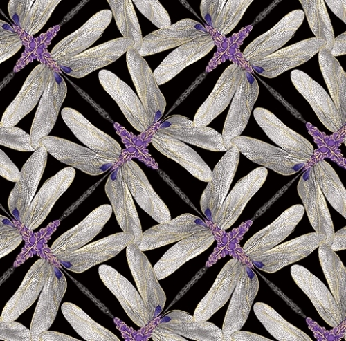 BENARTEX - Dragonfly Dance - Black/Gray Pinwheel - #2211-