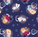 CAMELOT FABRICS - Disney - Frozen Alpine Wonder Collection - Frozen Snowflakes - Navy