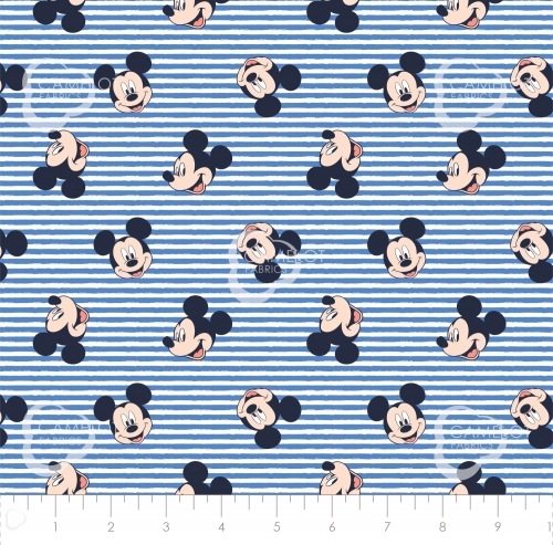 CAMELOT - Mickey Mouse - Oh Boy - Stripes Blue - #2325-