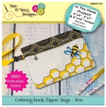 Bee Coloring Book Zipper Bag In the Hoop by Sue O'Very