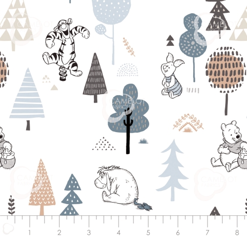 CAMELOT FABRICS - Wonder & Whimsy - Forest Friends White Forest - #2163-