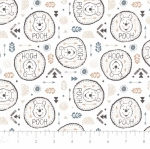 CAMELOT FABRICS - Wonder & Whimsy - Pooh Badges White