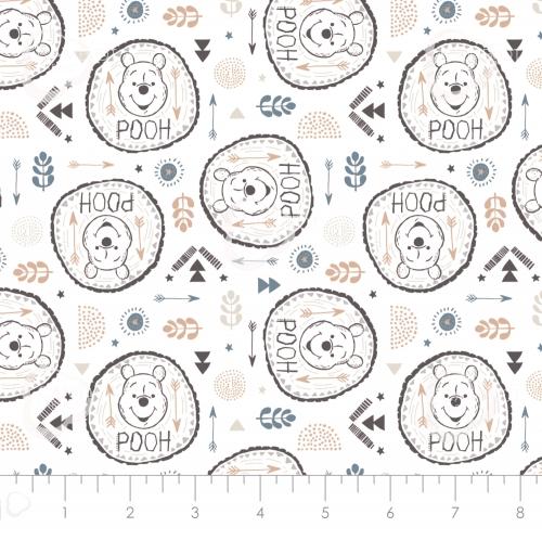 CAMELOT FABRICS - Wonder & Whimsy - Pooh Badges White - #2173-