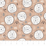 CAMELOT FABRICS - Wonder & Whimsy - Pooh Badges Tan