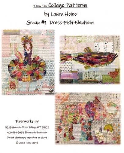 Teeny Tiny  Collage Patterns Group 1 - Dress-Fish-Elephant by Laura Heine