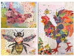Teeny Tiny Collage Patterns Group 6 - Rooster - Hen - Bee  by Laura Heine