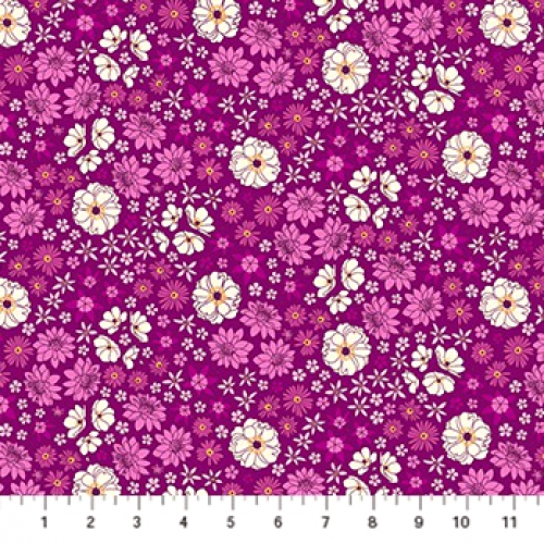 Figo Fabrics Quilting Cotton 525 Primavera Sweet Blossoms 90317-80 Purple