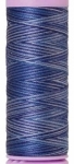 Silk-finish 50wt Variegated Cotton Thread 109yd/100m Evening Blue