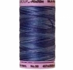 Silk-finish 50wt Variegated Cotton Thread 500yd/457m Evening Blue