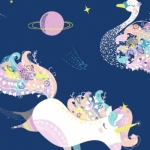 CAMELOT FABRICS - Cinnamon Joe Studio - Out of This World - Ochrestra Glow - Navy