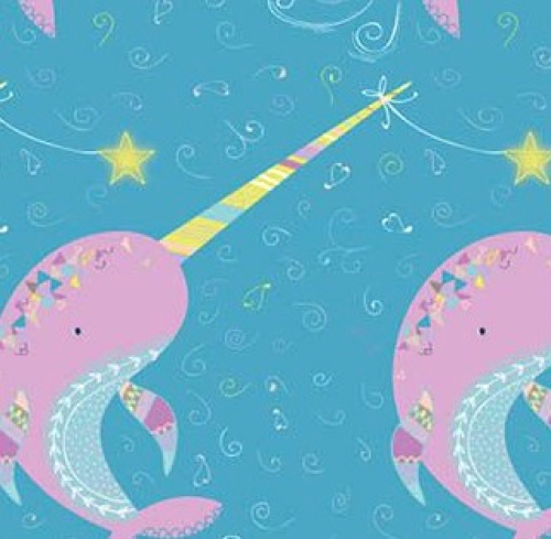 """Love is Deep Water Wishes Narwhal Whale Turtle Fabric by the 24/"""" Panel  #27561"""