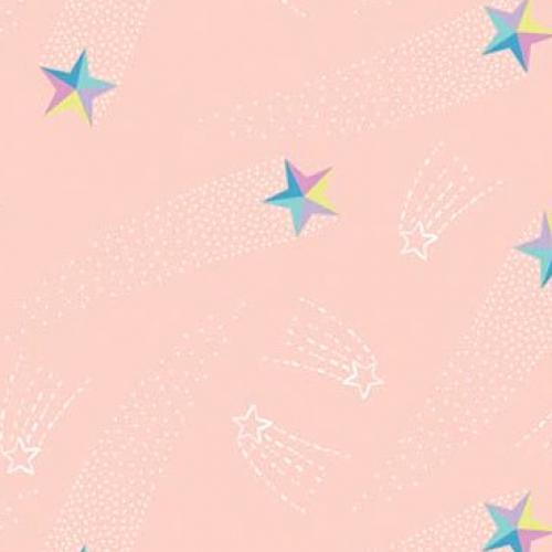 CAMELOT FABRICS - Out of This World - Cinnamon Joe Studio - Shooting Stars - Glow - Blush