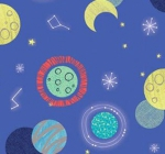 CAMELOT FABRICS - Out of This World - Cinnamon Joe Studio - Stellar - Glow - Blue