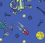 CAMELOT FABRICS - Out of This World - Cinnamon Joe Studio - Build A Friend - Glow - Blue