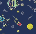 CAMELOT FABRICS - Out of This World - Cinnamon Joe Studio - Build A Friend - Glow - Navy