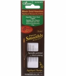 Clover Black Gold Applique/Sharps Needles Sizes 9-10-12 6ct