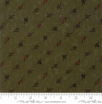 MODA FABRICS - On Meadowlark Pond - Floral Stripe Olive
