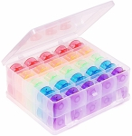 Double Sided Bobbin Box with 50 Rainbow Bobbins by Hemline